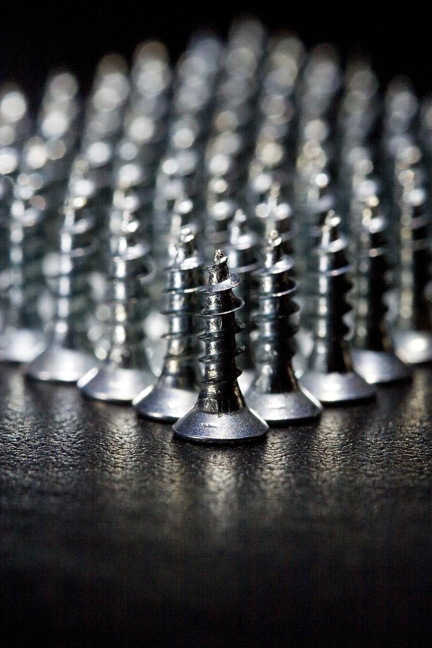screws, metal, leather